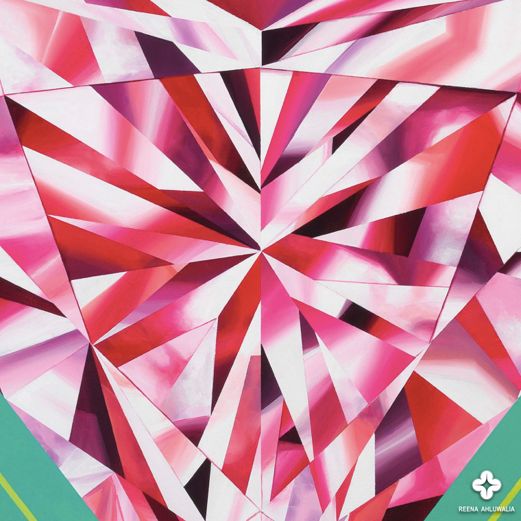 "Close up detail of pink diamond in ""Radiate Brilliance"". 48 x 48 inches (4 x 4 feet). Acrylic on Canvas. Diamond Painting by ©Reena Ahluwalia."