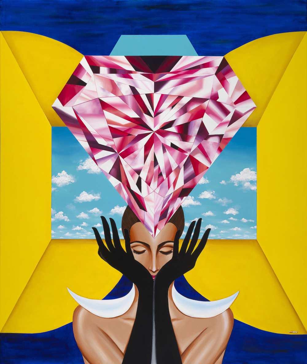 "'The Portal of Empowerment'. 72""x60"" (6x5 feet). Acrylic on Canvas. ©Reena Ahluwalia"