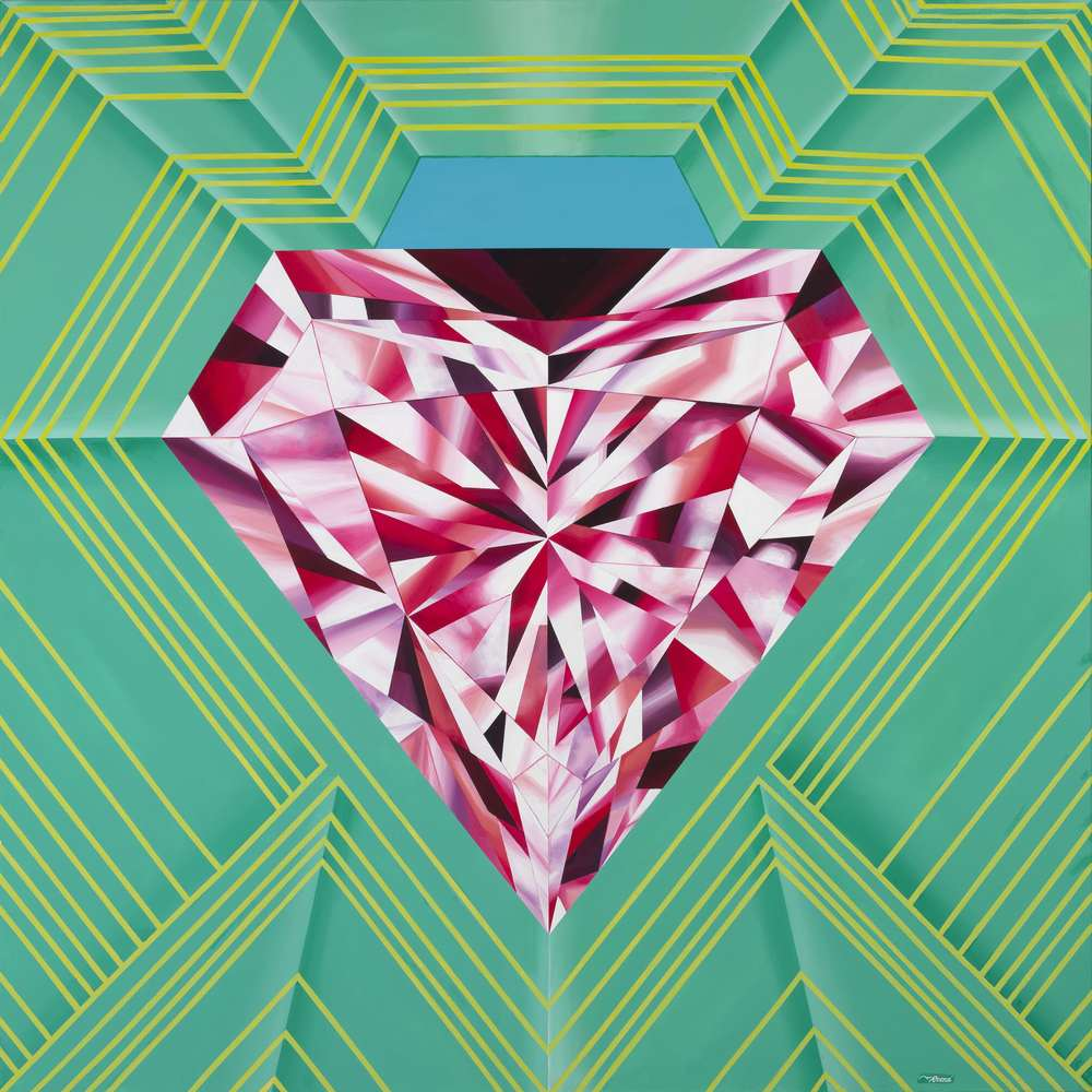 "'Radiate Brilliance'. 48""x48"". Acrylic on Canvas. ©Reena Ahluwalia"