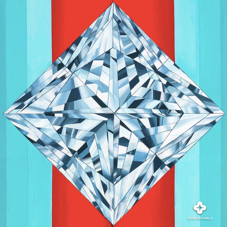 Close up detail of princess cut diamond in 'The Portal of Decisions'. 60 x 48 inches (5 x 4 feet). Acrylic on Canvas. Painting by ©Reena Ahluwalia. Central to the message of painting is a dazzling princess cut diamond. The diamond is on a pivot of balance and represents moment of clarity.