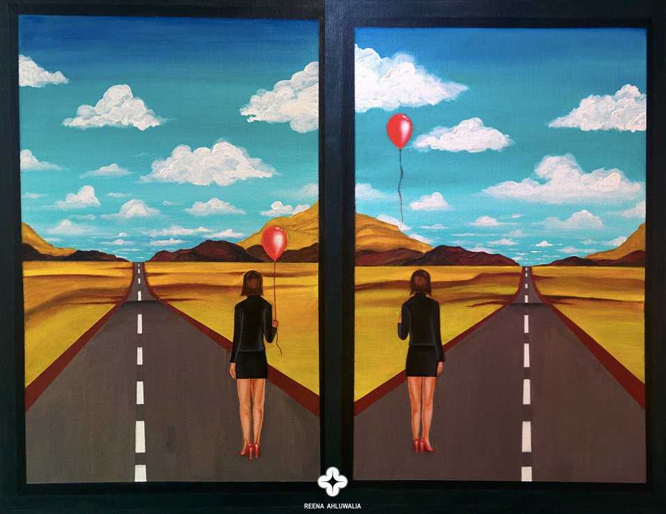 Every day, we have choices. This idea is represented in my painting by two paths. The paths are also suggestive of looking at world from different perspectives. Red balloons symbolize choices, of what we hold on to and let-go as we forge ahead, that eventually decide our course of life.   'The Portal of Decisions'. 60 x 48 inches (5 x 4 feet). Acrylic on Canvas. Painting by ©Reena Ahluwalia.