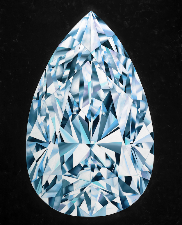 """The Portrait of Perfection"" - Portrait of a Pear Shaped Diamond 60""x 48"" [5.0 x 4.0 Ft]. Acrylic on Canvas. ©Reena Ahluwalia"