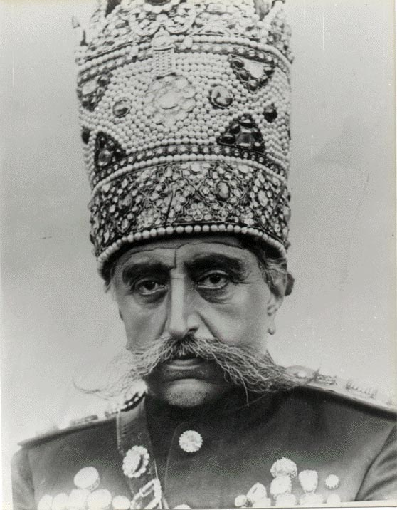 Mozaffar ad-Din Shah Qajar wearing his pearl Kiani crown. He was the 5th Shah of Qajar Dynasty and ruled between 1896-1907. Image: Unknown, Via Wikiedia