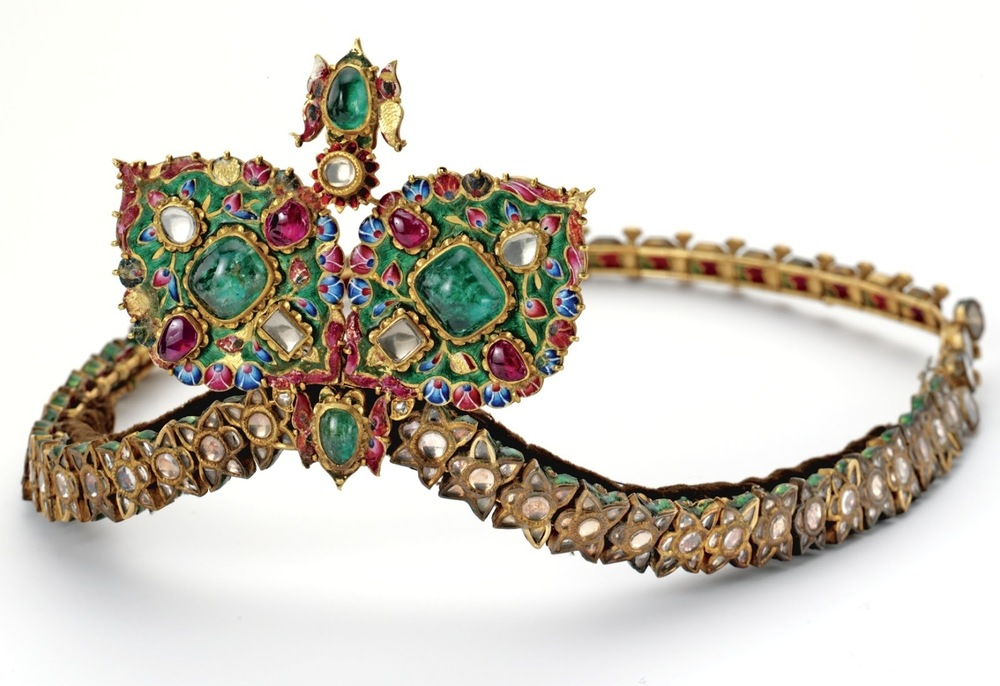 Gold, Cabochon Emerald, Cabochon Ruby, Diamond, White Sapphire and Enamel Diadem, 19th Century. Qajar Style. Images: Sotheby's