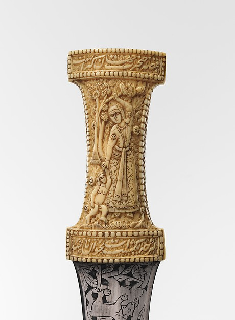 Detail: Dagger (Jambiya), 18-19th century, Qajar, Persia. Image: The Metropolitan Museum of Art.  Steel, ivory.