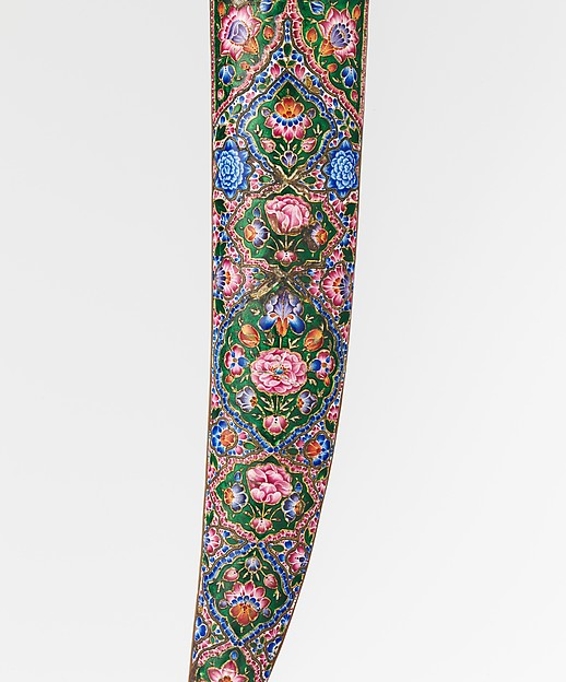 Detail: Dagger (Khanjar) with Sheath, 19th century, Qajar, Persia. Image: The Metropolitan Museum of Art.  Medium: Steel, gold, gemstone, copper, enamel, wood