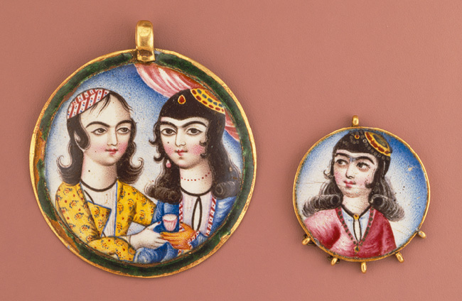 Enamelled gold pendant, 19th century, Qajar, Persia. Image: The Metropolitan Museum of Art.  Fabricated from sheet and half-round wire, enameled on obverse and reverse