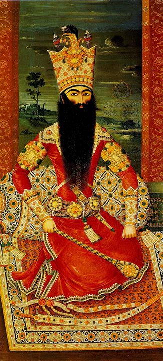 Fatḥ-ʿAlī Shah Qajar (1772-1834). The wealth of Persia in the time of Fatḥ-ʿAlī Shah was represented, both literally and symbolically, in the elaborate pearled and jeweled decoration of men's and women's garments: ropes, tassels of pearls, armbands, collars, and hems encrusted with gems. Even cushions and carpets were decorated in this fashion