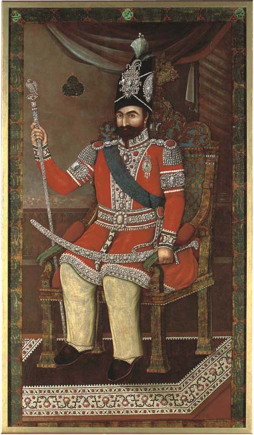 """MUHAMMAD SHAH QAJAR, BY AHMAD, DATED AH 1260 1844 AD. Oil on canvas, the Shah seated on a chair in an interior wearing a red coat copiously embellished with pearls and diamonds, in a blue sash, jewelled epaulettes, bazubands, tassels and cuffs, with a thick beard and wearing a tall black cap encrusted with gems incorporating an inscription, holding a sceptre completely covered in diamonds and rubies, in his lap a sword encrusted with diamonds, on a carpet decorated with pearls, identificary inscription in cusped cartouche reading Al-Sultan b. al-Sultan Muhammad Shah Qajar, the painting signed faintly in the lower leftt raqam kamtarim Ahmad 1260, within a border of panels of nastal'liq verses divided by cusped roundels containing a hymn in his praise, the calligraphy signed in a green cartouche in the lower right corner Muhammad Isma'il ..., small repaired tear, re-lined, framed. 87½ x 50in."
