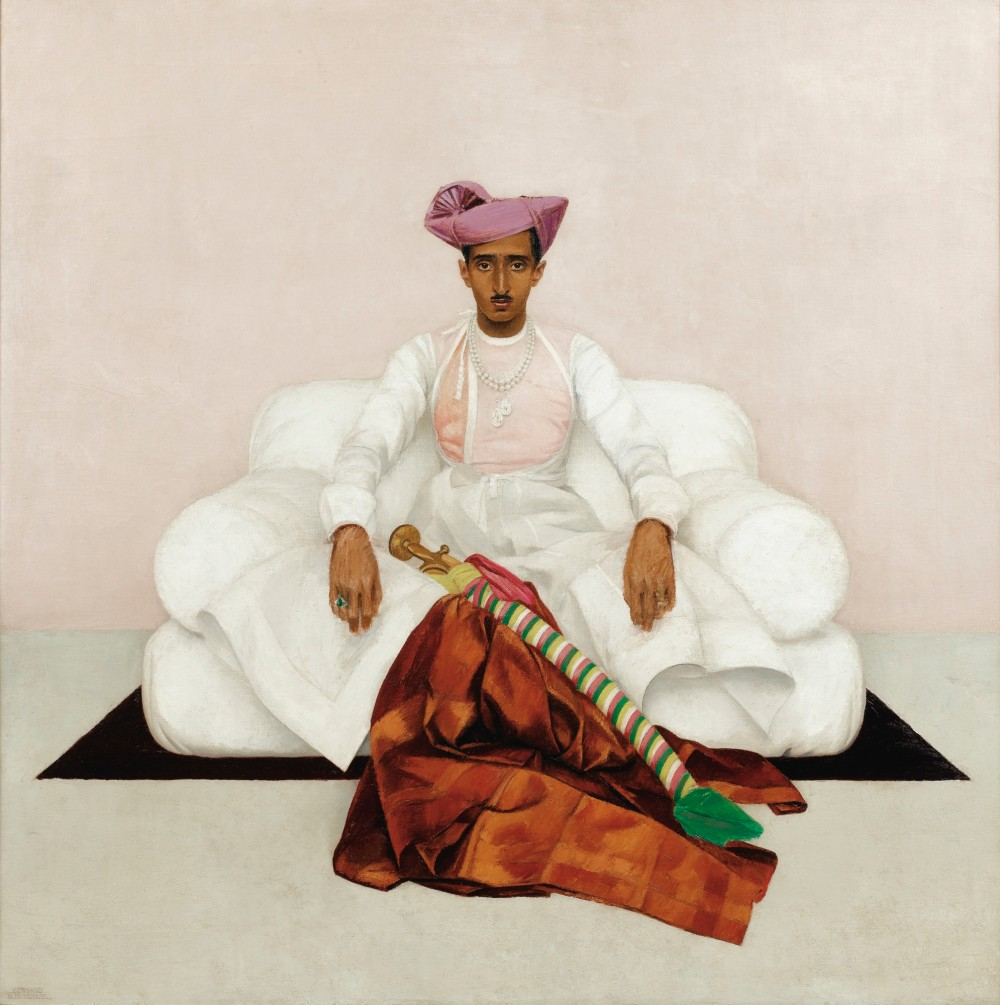 Bernard Boutet de Monvel, The Maharadjah (Maharaja) of Indore, Oil on canvas, 1933. 85 x 85 cm, Estimate : 300.000 – 500.000 € and sold in 2016 for €2,499,000. Image: Sotheby's. Boutet de Monvel's depiction of the Oxford-educated Maharajah of Indore, whose likeness was destined for the walls of Manik Bagh, his Indian palace. In this six-foot, stunningly ethereal composition from 1933, the young man, dressed in traditional costume, sits on a white throne against a pale background, t   he whole brought to vivid life by shots of shimmering colour: a garnet-hued turban on his head, two magnificent 47-carat diamonds (the Pears of Indore) around his neck   , along with a luxurious fabric and a striped sabre scabbard at his feet.