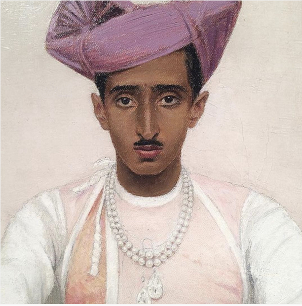 Bernard Boutet de Monvel, The Maharadjah (Maharaja) of Indore, Oil on canvas, 1933. 85 x 85 cm, Estimate : 300.000 – 500.000 € and sold in 2016 for €2,499,000. Image: Sotheby's. Maharaja is wearing two magnificent 47-carat diamonds (the Pears of Indore) around his neck.