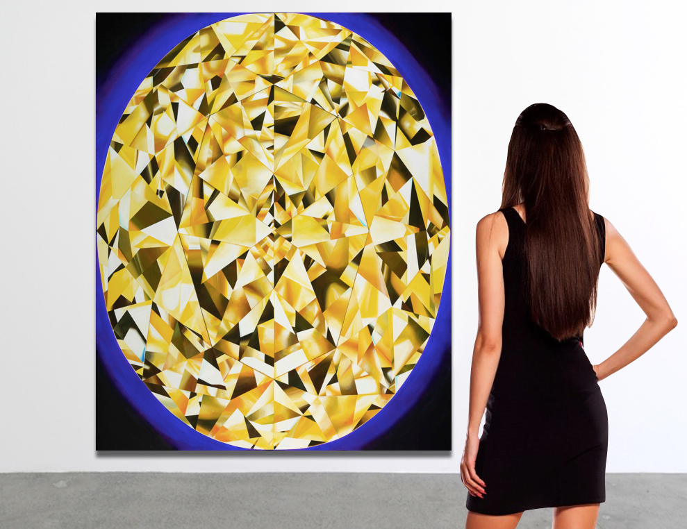 Painting in a gallery. 'The Portrait of Luminosity' - Portrait of an Oval Cut Yellow Diamond. 60 x 48 inches. Acrylic on Canvas. ©Reena Ahluwalia