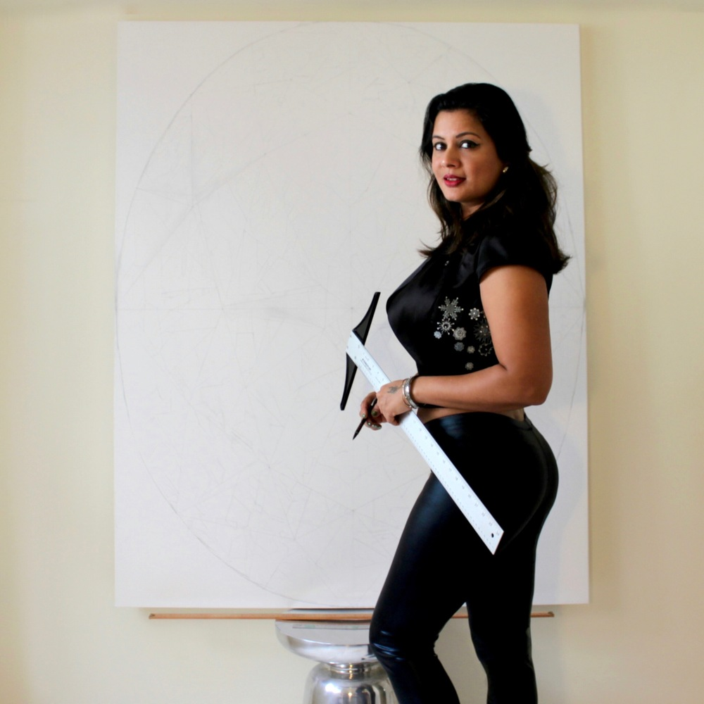 Reena working on the layout of the painting. 'The Portrait of Luminosity' - Portrait of an Oval Cut Yellow Diamond. 60 x 48 inches. Acrylic on Canvas. ©Reena Ahluwalia