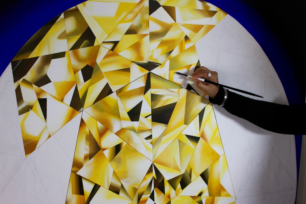 Brush strokes! Can you judge the scale of the painting? Making of 'The Portrait of Luminosity' - Portrait of an Oval Cut Yellow Diamond. 60 x 48 inches. Acrylic on Canvas. ©Reena Ahluwalia