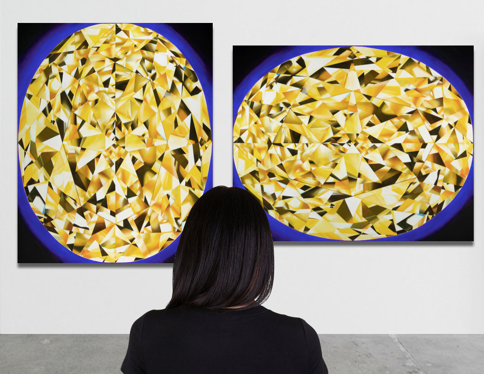 Do you prefer vertical or horizontal orientation? Both are possible! 'The Portrait of Luminosity' - Portrait of an Oval Cut Yellow Diamond. 60 x 48 inches. Acrylic on Canvas. ©Reena Ahluwalia