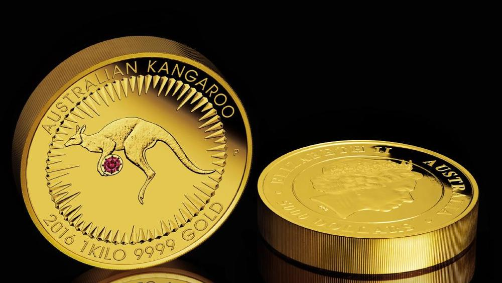 $1 Million $ ‪Kimberley Treasure Coin‬ with a 0.54 ct. ‪red diamond‬ by Rio Tinto. A world exclusive by The Perth Mint. Crafted from 1 kilo of 99.99% pure gold, the one-of-a-kind Kimberley Treasure coin features a bounding 'red kangaroo' and a radiant 0.54 carat red diamond. Selected from the Argyle Pink Diamond Tender, the most exclusive diamond sale in the world, the specially cut gemstone is hand set between the animal's front paws. Valued at $1 million, the Australian legal tender Kimberley Treasure is the most breathtaking collaboration between the two organizations yet. Image: The Perth Mint, 2016