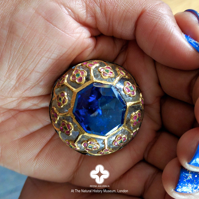 Holding ‪Mughal‬ history in my hand at the Natural History Museum, London! A rare private viewing from the vaults of NHM of a 31-ct., faceted 'rose cut' ‪#‎sapphire‬ in a Quartz 'rock crystal' button inlaid with gold, rubies, emeralds. Purchased by Sir Hans Sloane for £43 (!), late 17th century. Image credit: Taken by Reena Ahluwalia at the Natural History Museum, London. 2016
