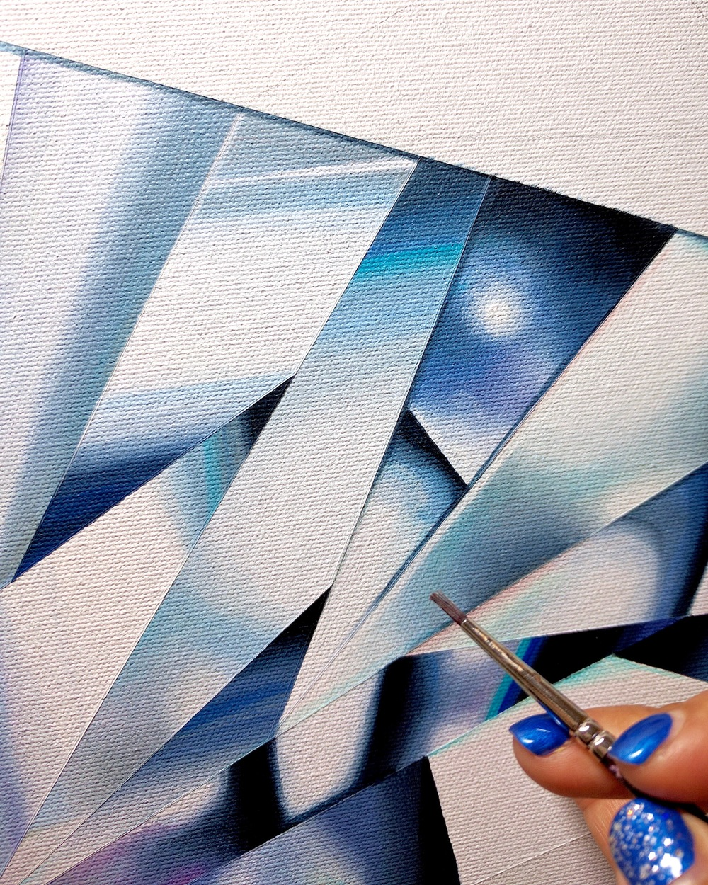 Polished diamonds are pure precision! If you know your diamonds, you totally know this! My paintings, just like my jewelry pieces capture precision and pay tribute to this poetry in geometry. Progress of 'Pure Heart', my white heart-shaped diamond painting from 'Diamond Portrait Series'. ©Reena Ahluwalia