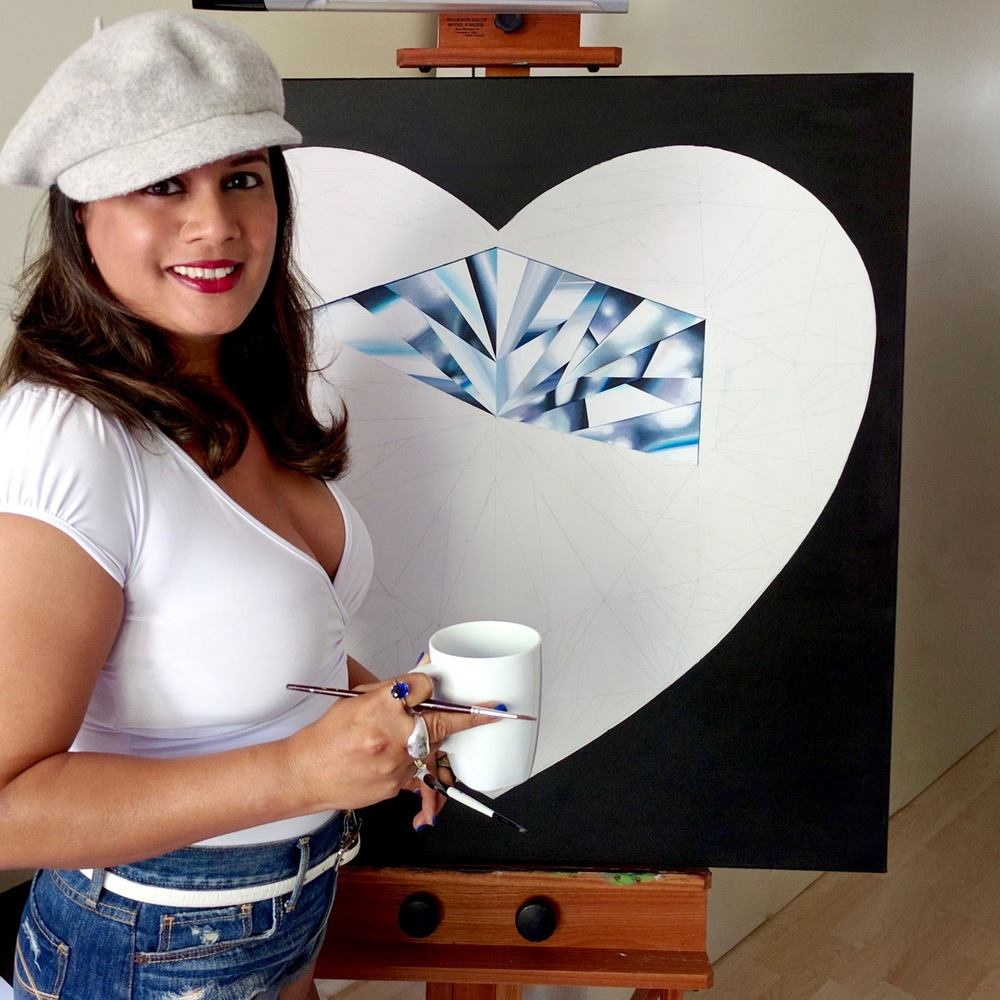 A pure heart is pure light! It's that essence I want to capture in my painting. After all, what is heart without story? Reena Ahluwalia in her studio working on the painting. ©Reena Ahluwalia