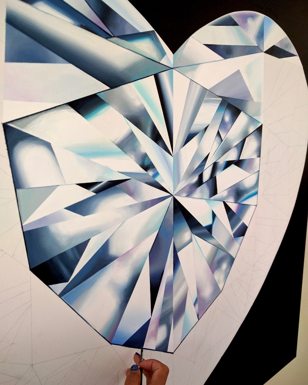 Close up detail. 'Pure Heart' - Portrait of a White Heart-Shaped Diamond. 36 x 36 inches. Acrylic on Canvas. ©Reena Ahluwalia