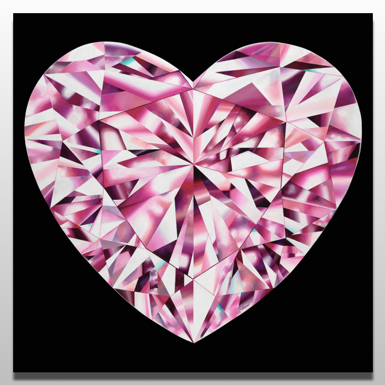 'Passionate Heart' - Portrait of a Pink Heart-Shaped Diamond. 36 x 36 inches. Acrylic on Canvas. ©Reena Ahluwalia. Please click on the image to read more about the painting.