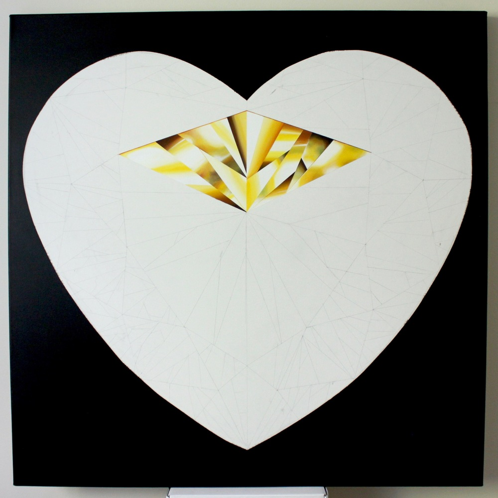 When you shine, the world shines with you!   In progress, 'Heart of Gold' - Portrait of a Yellow Heart-Shaped Diamond. 36 x 36 inches. Natural Diamond Dust and Acrylic on Canvas. ©Reena Ahluwalia