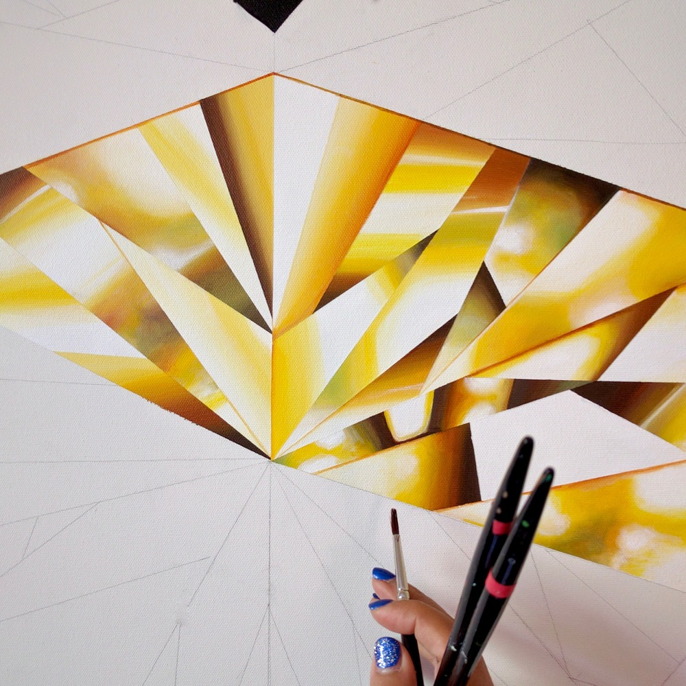 Be the light in someone's life! In progress, 'Heart of Gold' - Portrait of a Yellow Heart-Shaped Diamond. 36 x 36 inches. Natural Diamond Dust and Acrylic on Canvas. ©Reena Ahluwalia
