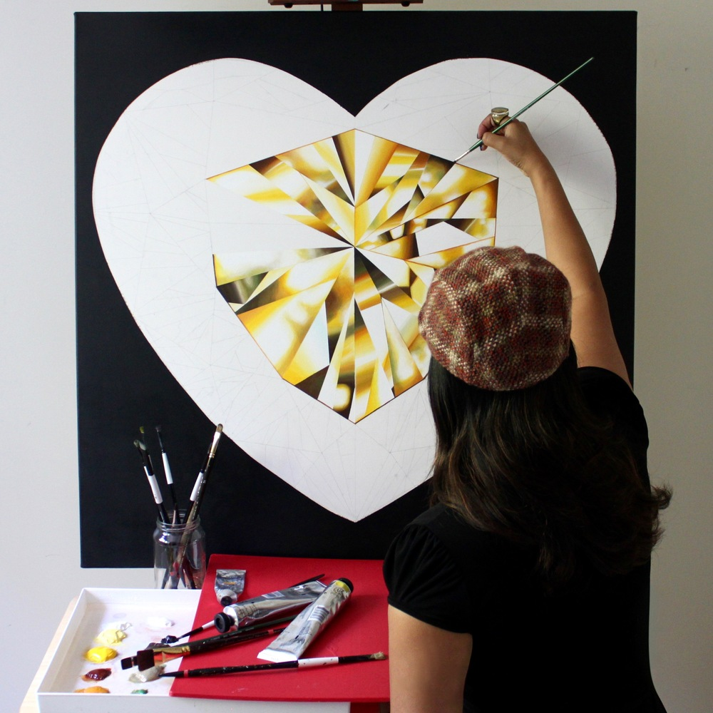 Unlocking the heart of gold, one brush stroke at a time! Making of the 'Heart of Gold' - Portrait of a Yellow Heart-Shaped Diamond. 36 x 36 inches. Natural Diamond Dust and Acrylic on Canvas. ©Reena Ahluwalia