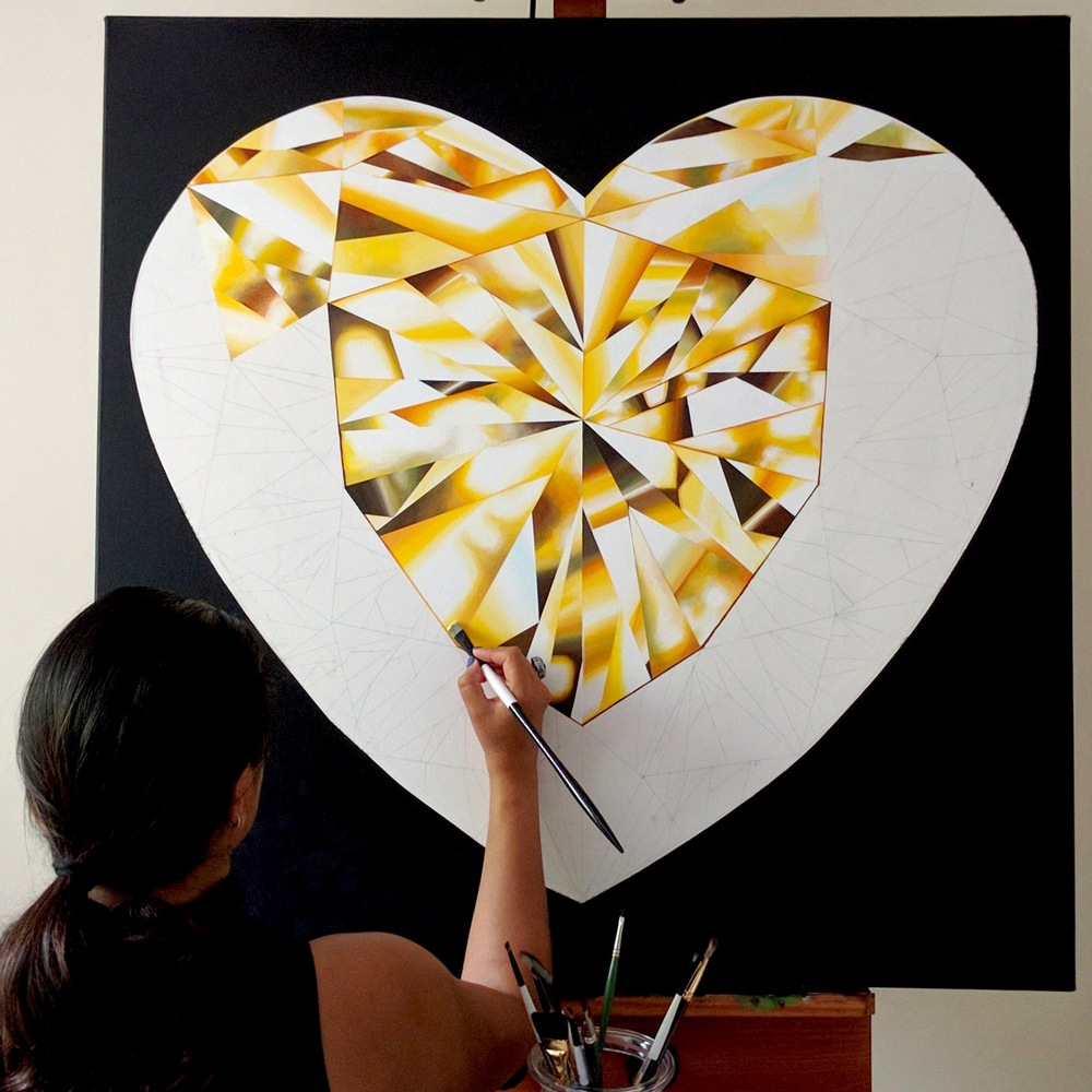 Let's follow our heart, it leads to our dreams! 'Heart of Gold' - Portrait of a Yellow Heart-Shaped Diamond. 36 x 36 inches. Natural Diamond Dust and Acrylic on Canvas. ©Reena Ahluwalia