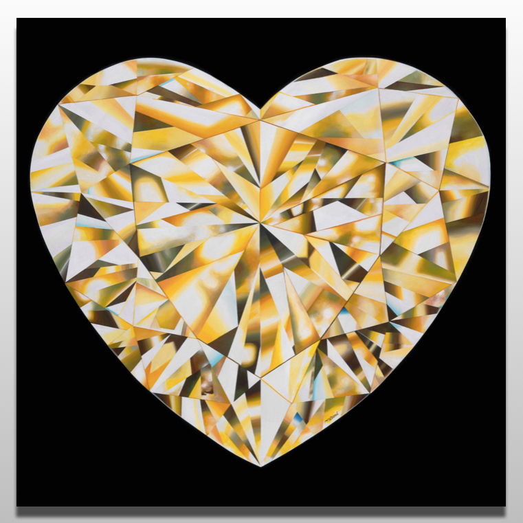 'Heart of Gold' - Portrait of a Yellow Heart-Shaped Diamond. 36 x 36 inches. Acrylic on Canvas. ©Reena Ahluwalia. Please click on the image to read more about the painting.