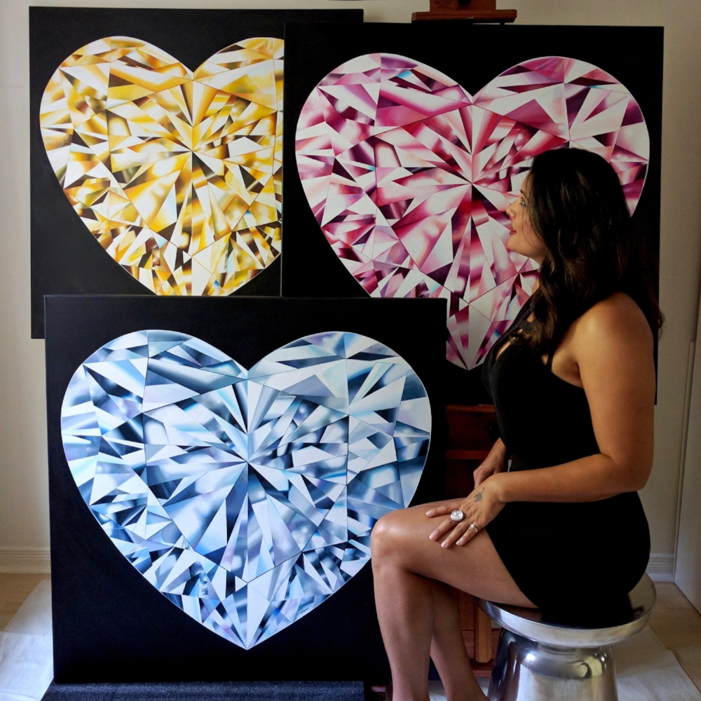 Reena Ahluwalia with her heart-shaped diamond paintings from the 'Diamond Portrait Series'. ©Reena Ahluwalia