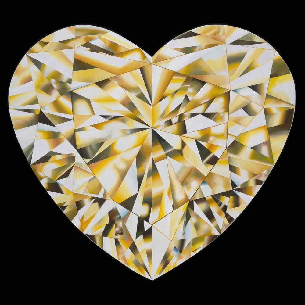 'Heart of Gold' - Portrait of a Yellow Heart-Shaped Diamond. 36 x 36 inches. Acrylic on Canvas. ©Reena Ahluwalia. More about the painting and process here.