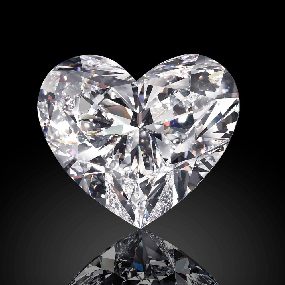 "At 118.78 carats, the ""The Graff Venus"" is the world's largest D-color, Type IIA, flawless heart-shaped diamond. The Graff Venus was cut from a 357-carat rough diamond discovered in 2015 at the Letšeng Mine in Lesotho. Image: Graff Diamonds"