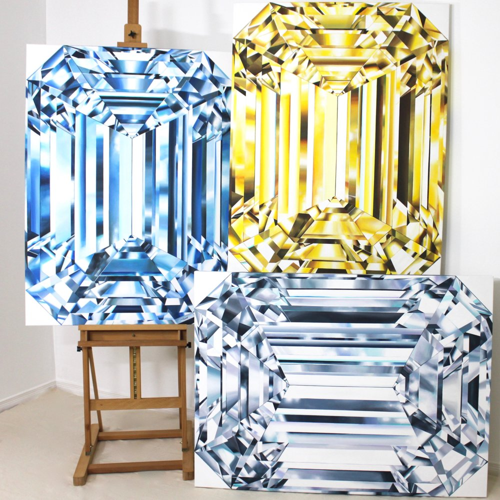 TRIO Of EMERALD CUTS. Three emerald cut diamond paintings by © Reena Ahluwalia. 48x36 inches each. Titles: Regal Blue | Glorious | Shining Spirit. Acrylic on Canvas.
