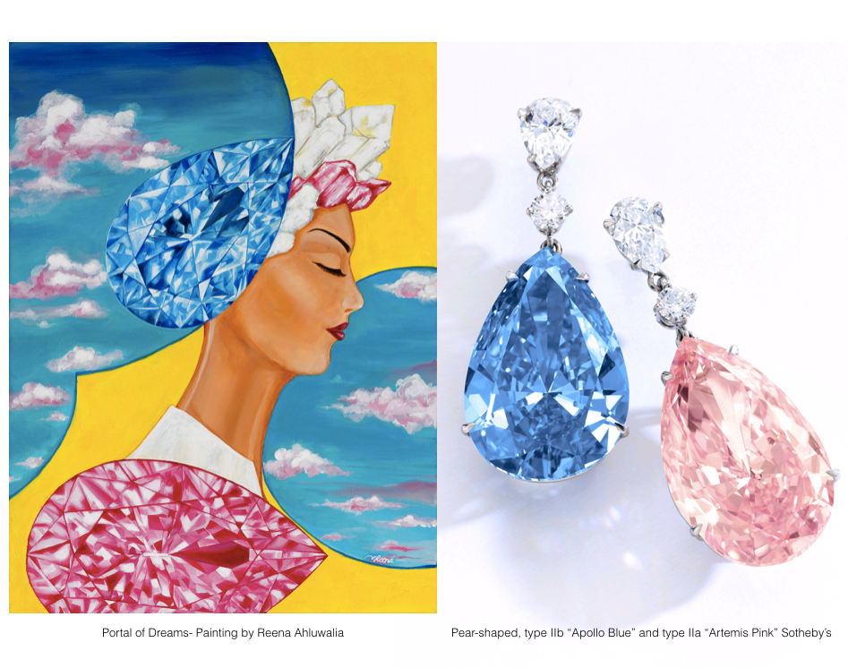 "Pear-shaped, Type IIa ""Artemis Pink"" and Type IIb ""Apollo Blue"", Sotheby's + Reena Ahluwalia 'Portal of Dreams' diamond painting."