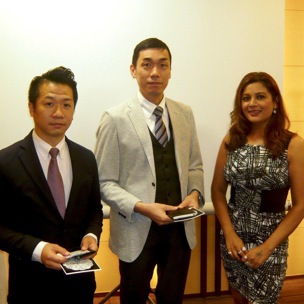 Yosiyasu Simozono, Yuji Hisaga (Tokyo Kiho Co. Ltd.) and Reena Ahluwalia at the Tokyo Diamond Exchange.