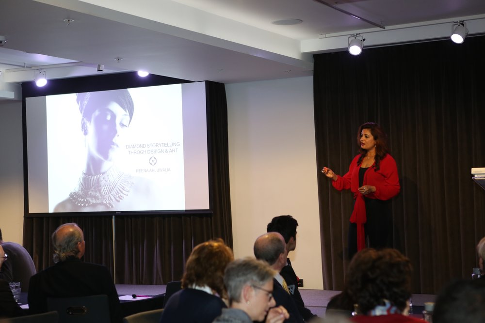 Reena Ahluwalia Speaking at the Gem-A Conference 2017. Image: Henry Mesa, Gem-A