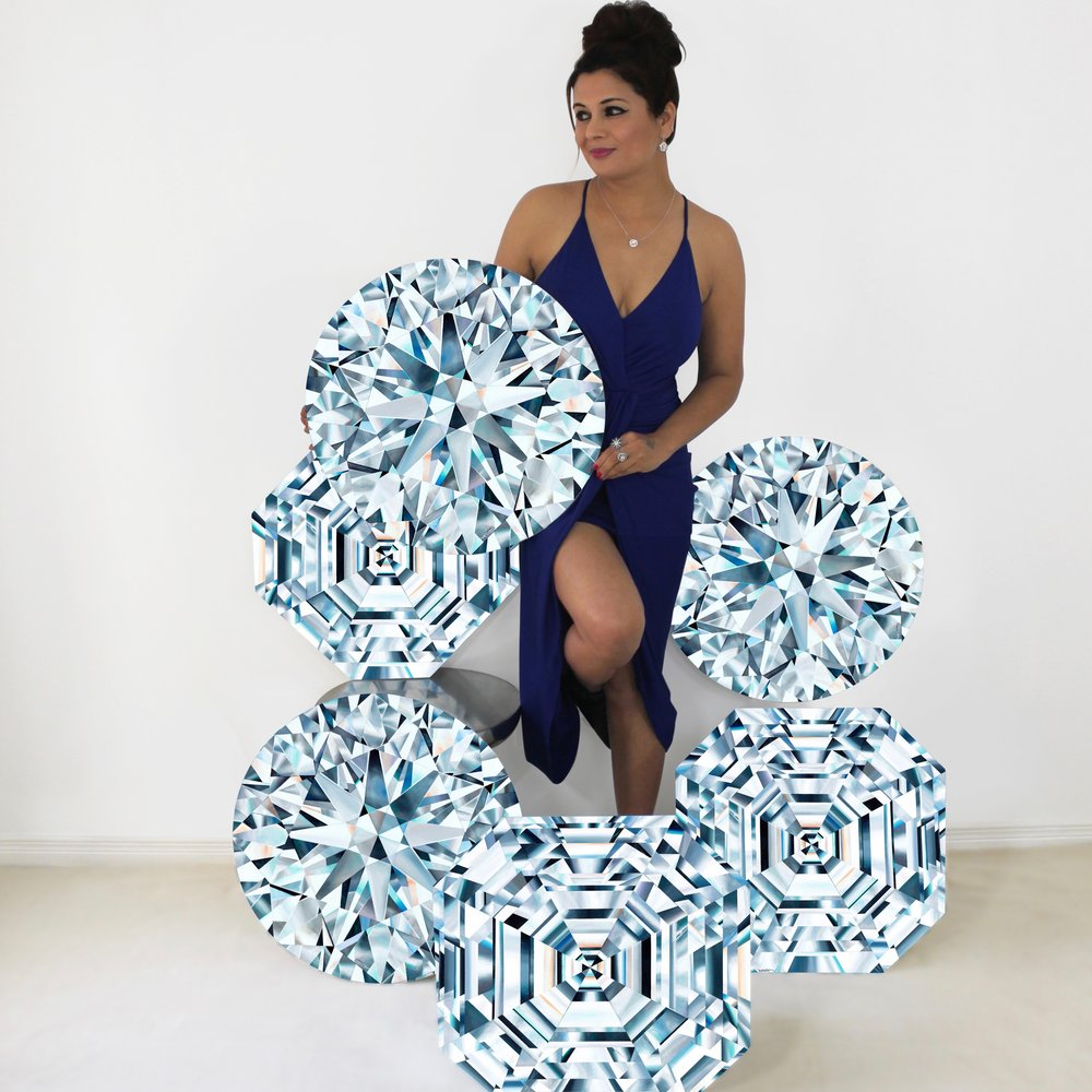 Artist Reena Ahluwalia with her diamond paintings 'Diamond Constellation' for the DIVA Diamond Museum, Antwerp.