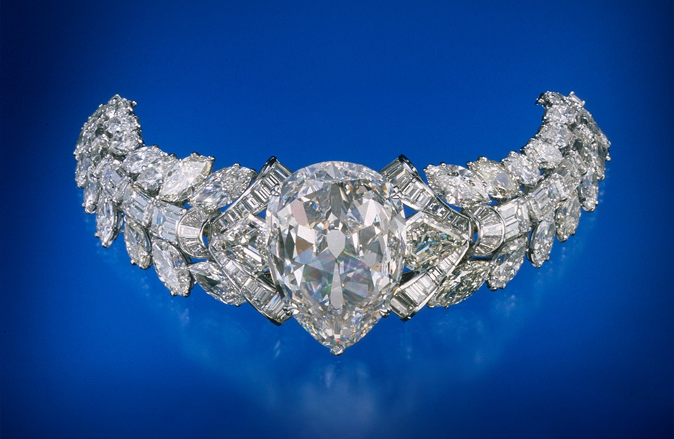 The 69.68 ct Excelsior I, set in a diamond bracelet, is the largest of eleven stones cut from a 995.20 ct rough diamond found June 30, 1893, in the Jagersfontein mine, South Africa. Photo: Harold & Erica Van Pelt/GIA. Courtesy: Mouawad Jewelers, New York.