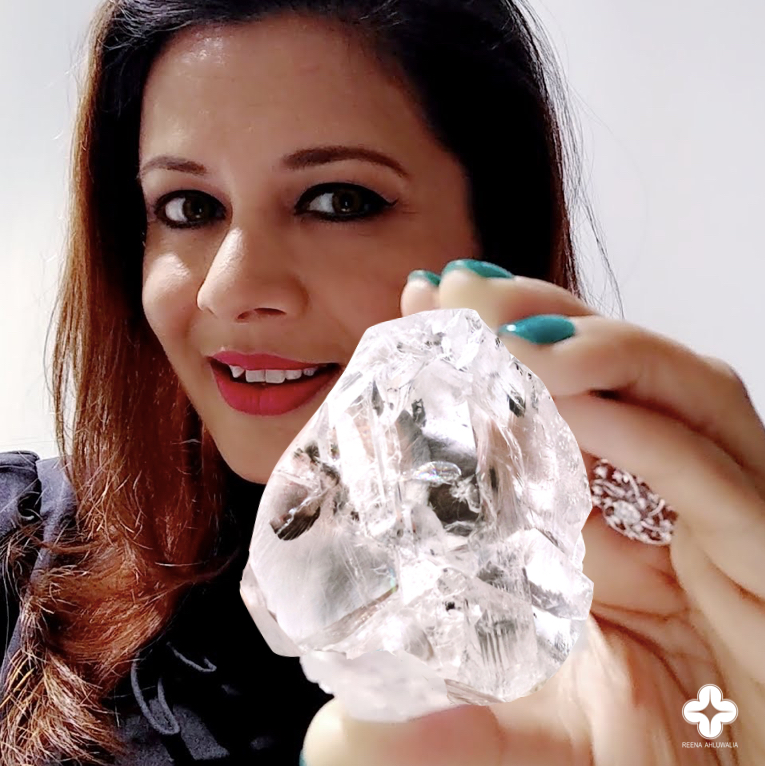 Reena Ahluwalia with the Lesotho Legend, a 910-carats, Type IIa, D-Color diamond. It was discovered in the Letšeng mine by Gem Diamonds Ltd. and   purchased for $40 million in 2018. Image: Reena Ahluwalia