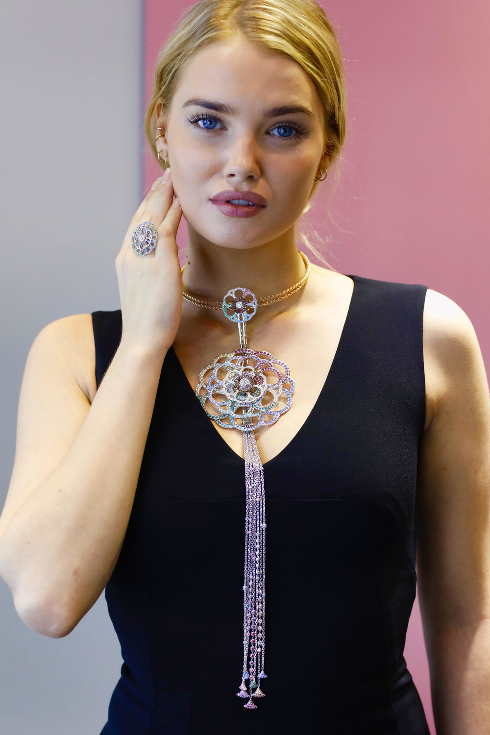 Soul Carousel spinning diamonds and  Swarovski® Created Stones statement  necklace by 'Coronet By Reena Ahluwalia'. Model: M ichelle Desideriussen.
