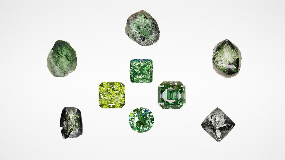 Natural-color green diamonds such as these rough (0.85–1.07 ct) and faceted (0.68–1.66 ct) stones submitted to GIA by clients or for scientific study are extremely rare and generally found in South America or Africa. Image credit: Photos by various GIA staff.