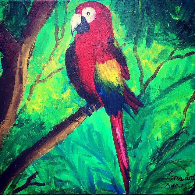 #painting by shaarda age 7 #artclass #summer #art #birds #nature #montessori #preschool #parents #creative