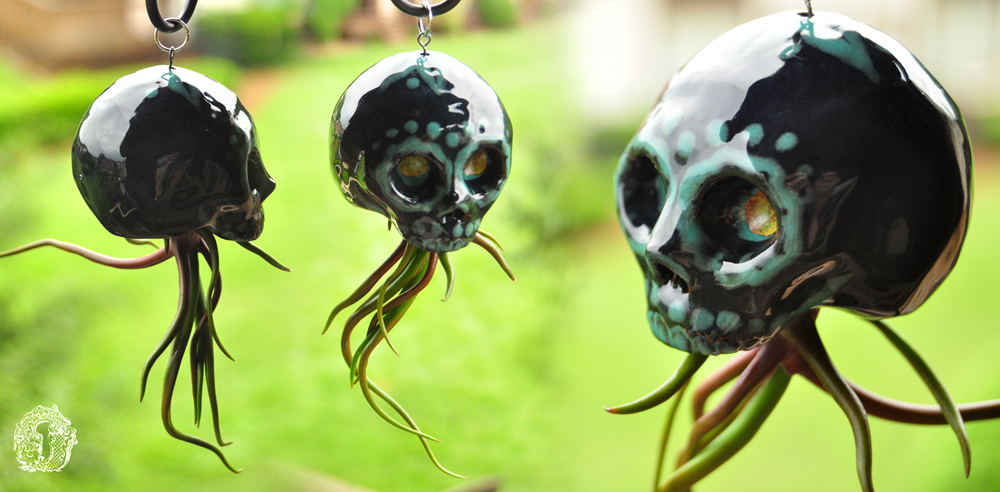 Charcoal and Teal Sugar Skull Air Plant Hanger