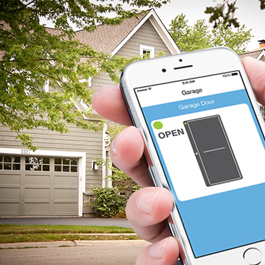 Control your garage door or multiple garage doors from anywhere. You can also check the door's status and receive alerts if someone opens the door, while you're away.