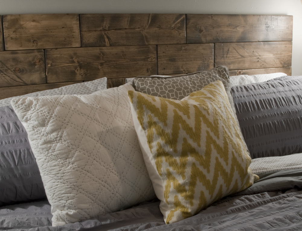 I will do a separate post on this, but here is my faux reclaimed lumber headboard. This was sort of the crown jewel of the whole project for me. It was a really fun challenge, and I can't wait to share more of the process.