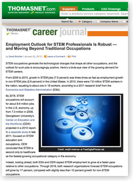 Article on robust STEM employment outlook Go to the Web page.