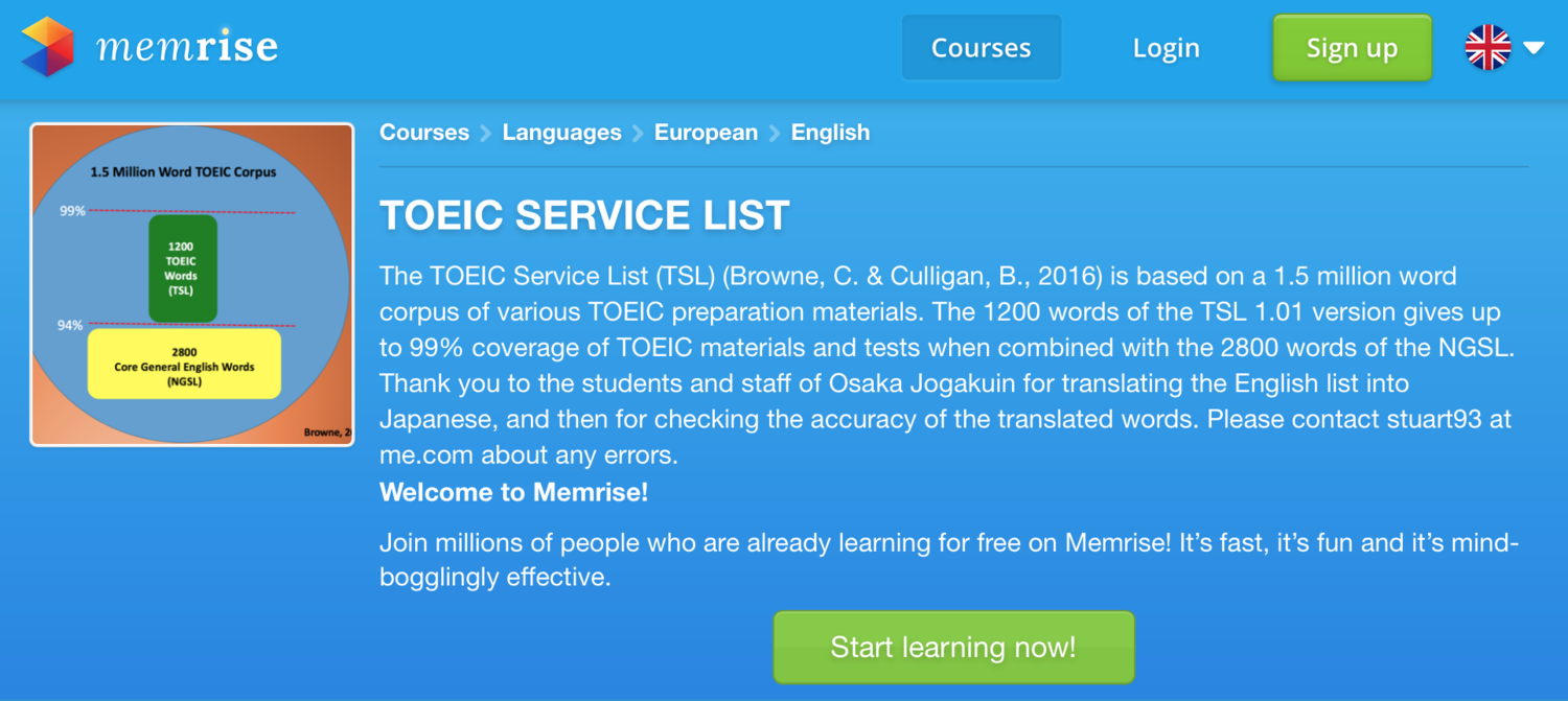TOEIC Service List now up on Memrise with Japanese