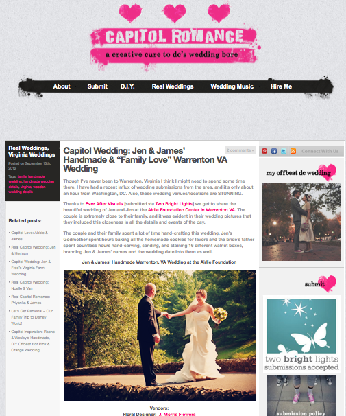 "Capitol Wedding: Jen & James' Handmade & ""Family Love"" Warrenton VA Wedding"