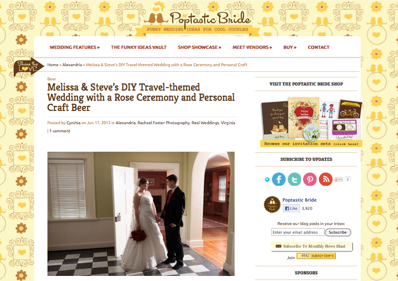 Melissa & Steve's DIY Travel-themed Wedding with a Rose Ceremony and Personal Craft Beer